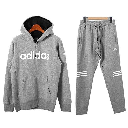 (アディダス)adidas エッセンシャル 3ST ロゴ スウェット フードパーカー&パンツ 上下セット メンズ
