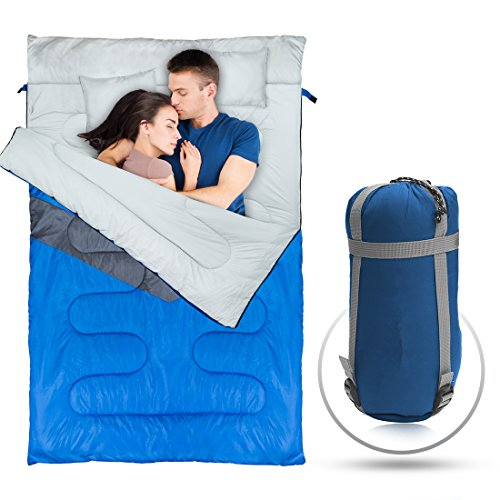 Double-Sleeping-Bag-Queen-Size-with-2-Small-Pillows-Waterproof-Comfortable-Compact-for-Hiking-Trekking-Camping-or-other-Outdoor-Activities-Includes-a-Carry-Bag-with-Compression-Sack