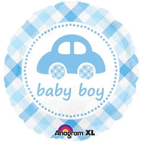 18 Inch Baby Boy Plaid Car Balloon front-858821