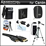 "Essential Accessories Kit For Canon PowerShot SX260 HS, SX260HS SX280 HS, SX280HS Digital Camera Includes Extended Replacement (1200 maH) NB-6L Battery + AC/DC Travel Charger + Mini HDMI Cable + USB 2.0 Card Reader + Deluxe Case + 50"" Tripod w/Case + More"