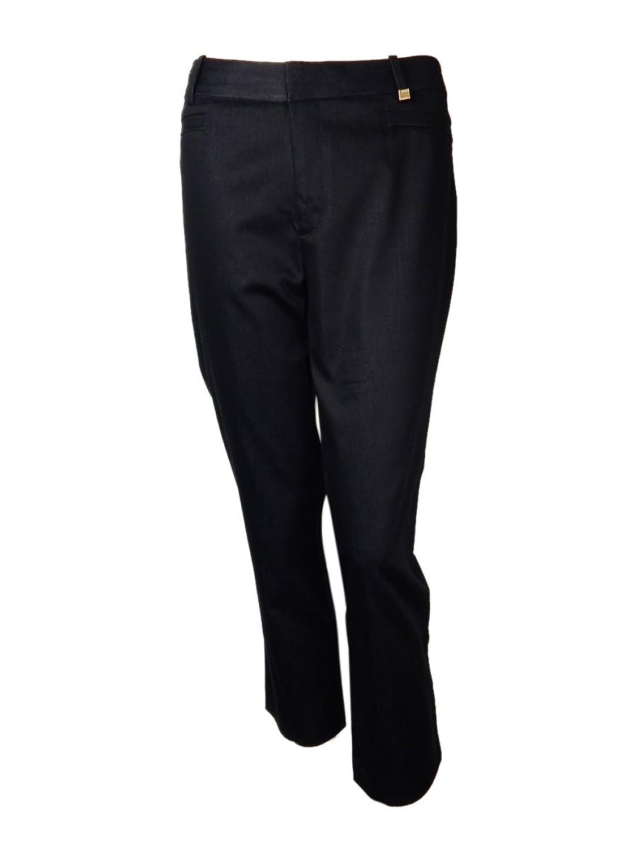 Calvin Klein Women's Faux Pocket Straight Leg Pants calvin klein new orange snake print drawstring soft pants m $79 5 dbfl