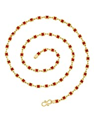 The Jewelbox Red Princess Mala 22K Gold Plated 24.4 IN Chain For Women
