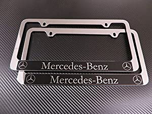 Mercedes benz halo chrome license plate frame for Mercedes benz license plate frame rhinestones