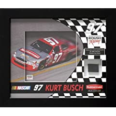Kurt Busch Tire Shadowbox - Memories - Mounted Memories Certified - NASCAR Race Used... by Sports Memorabilia