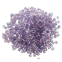 Beadsnfashion 2 Cut Seed Bugles Beads Violet Rainbow (100 Gm), Size 11/0