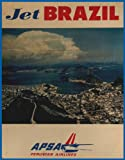 Vintage Jet BRAZIL with APSA PERUVIAN AIRWAYS Reproduction Aviation & Travel Poster on 200gsm A3 Soft-Satin-Finish Art Card