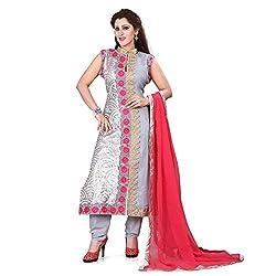 shreepati sarees Grey Georgette Embroidered & Laser Work Party Wear Salwar Suit With Dupatta Set