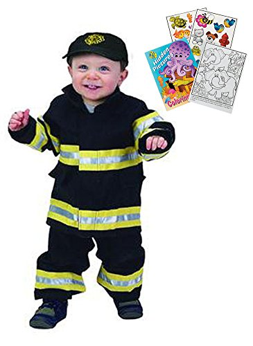 Aeromax Jr. Black Firefighter Suit Age 18 month with Kids Coloring Book