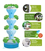 Foody Vertical Gardens 12 Hydroponic Garden: Automatic Watering & Rotation, 44 Planting Pockets, BPA Free, Food Grade & UV Resistant Tower Planter
