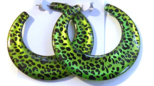 Leopard Spot Hoop Earrings Green Leopard Spot Hoops 2.5 Inch