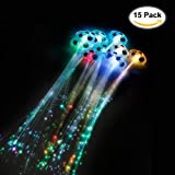 Etekcity 15 Pack LED Fiber Optic Lights up Flashing Hair Barrettes - Party Supplies
