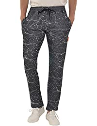 YOO Men's Self Design Jaquard Casual Track Pant