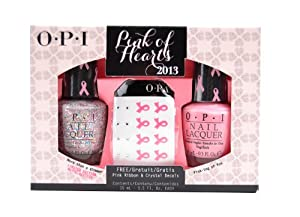 OPI Nail Polish Pink of Hearts 2013 includes two shades sold in one pack - the pale pink Pink-ing of You and the vibrant More than a Glimmer