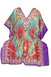Indiatrendzs Women's Caftan Printed Poly Crepe Colorful Kimono Kaftan Top Chest: 60
