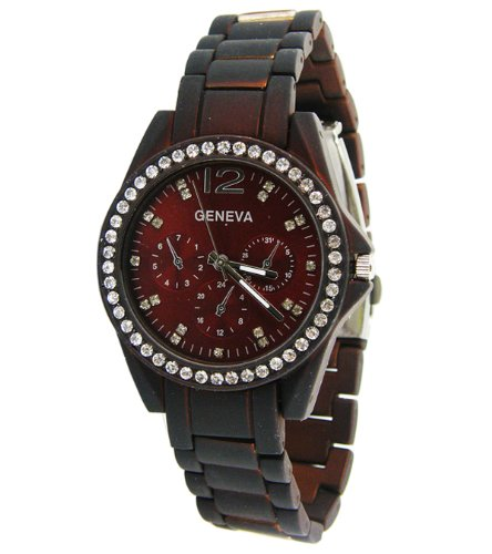 Geneva Colored Chronograph Rhinestone-Accented Link Watch-Red