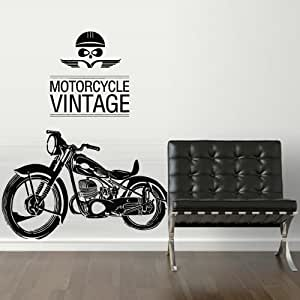 Motorcycle vintage wall decal vinyl sticker for 70 bike decoration