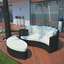 Big Sale LexMod Taiji Outdoor Wicker Patio Daybed with Ottoman in Espresso with White Cushions