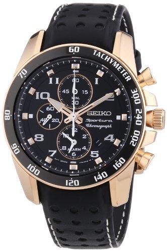 Seiko Herren-Armbanduhr XL Sportura Chronograph Quarz Leder SNAE80P1