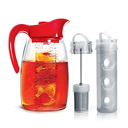 Primula Flavor-It Beverage System - Includes Fruit Infusion Core, Tea Infusion Core, and Chill Core - Dishwasher Safe - 2.9 Qt. - Red (Glass Fusion Pitcher compare prices)