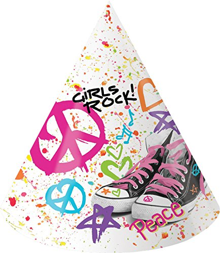 Creative Converting 8 Count Totally 80's Paper Party Hats, Child Size, Multicolor