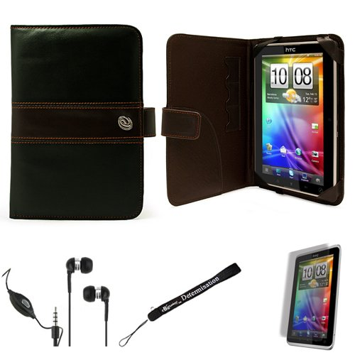 Black Brown Protective Slim and Durable Professional Faux Leather Portfolio Cover Carrying Case with Memory Card Slots for HTC Flyer 3G WiFi HotSpot GPS 5MP 16GB Android OS AD2P 7 Inch Tablet Device + Includes a eBigValue (TM) Determination Hand Strap + Includes a Crystal Clear HD Noise Filter Handsfree with Mic and Mute Button + Includes a Anti Glare Screen Protector