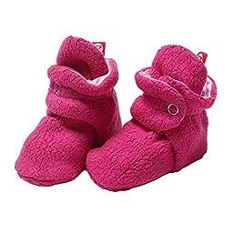 Zutano Cozie Fleece Baby Booties Girls - Fuchsia Pink - 3M
