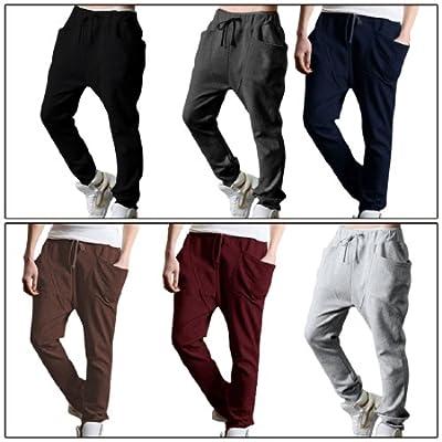 Allegra K Elastic Waist Baggy Harem Pants Straight Trousers Pants for Men