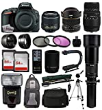Nikon D5500 DSLR Digital Camera 18-55mm Lens + 6.5mm f 3.5 Fisheye Lens + 70-300 DG Lens + Super 650-2600 HD Telephoto Lens + 128GB Memory + Filters + Flash + Backpack + Case + Tripod + Monopod