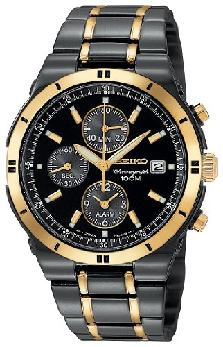 Men&#8217;s Seiko Black Ion Chronograph Watch