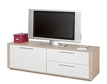 Televisor moderno con puerta y dos ribalte roble, lacado, color blanco