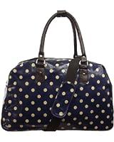 UKFS Designer Polka Dot Holdall / Spot Print Large Oilcloth Shoulder Bag / Weekend Bag