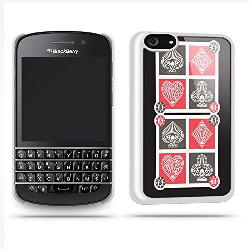 Gambling Pattern Black Case Shell Cover Phone Case Shell For Blackberry Q10 - White