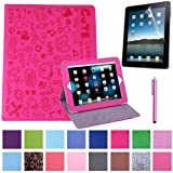 HDE Folding Leather Folio Case Cover Stand for iPad 1st Generation w/ Screen Protector & Matching Stylus (Hot Pink Cartoon)