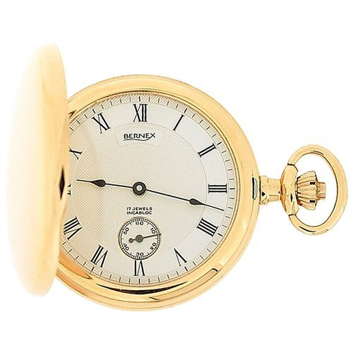 Bernex Mechanical Rose Gold Plate Full Hunter Gents Pocket Watch BN22103