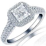Natural Radiant Cut Halo 0.96 Carat Diamond Engagement Ring 18K White Gold E/VS2