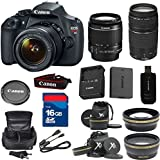 Top Value Bundle For T5 Digital SLR Camera with EF-S 18-55mm f/3.5-5.6 IS Lens + 75-300mm III Zoom + Wide Angle + Telephoto + High Speed 16GB Memory Card + High Speed Reader + Deluxe Case + 8pc Bundle