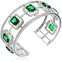 "CZ by Kenneth Jay Lane ""Trend Cubic Zirconia"" Rhodium-Plated Emerald-Color Cubic Zirconia Cuff Bracelet"