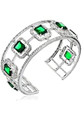 """CZ by Kenneth Jay Lane """"Trend Cubic Zirconia"""" Rhodium-Plated Emerald-Color Cubic Zirconia Cuff Bracelet, 21 CTTW"""