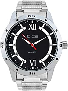 "Dice ""Numbers 4269"" Formal Round Shaped Wrist Watch for Men. Fitted with Beautiful Black Color Dial, Stainless Steel Case and Chain"