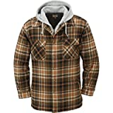Gravel Gear Sherpa Lined Hooded Flannel Shirt Jacket - Large, Tan (Color: Tan, Tamaño: Large)