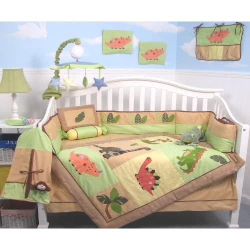 SoHo Dinosaur Story Baby Crib Nursery Bedding Set 13 pcs included Diaper Bag with Changing Pad & Bottle Case  Special !