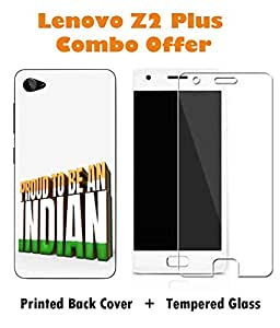 Lenovo Z2 Plus Indian Printed White Hard Back Cover with Premium Tempered Glass Combo By Make My Print