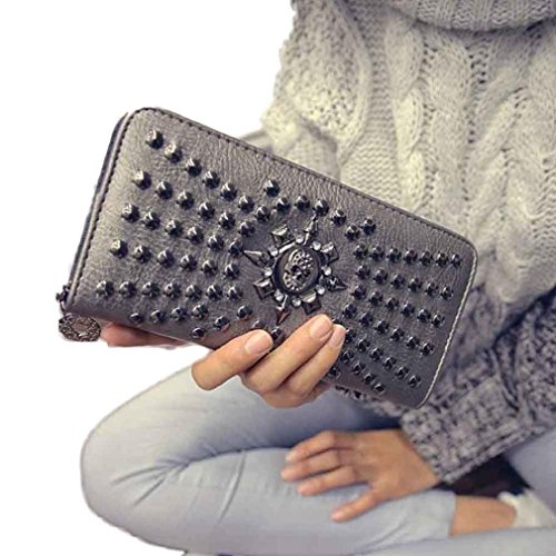 2016 New Fashion Lady Women Leather Clutch Wallet Long Card Punk Rivet Wallet (Silver) (Wax Pen Dome compare prices)