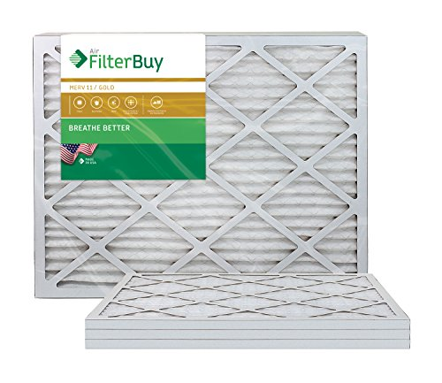 AFB Gold MERV 11 14x30x1 Pleated AC Furnace Air Filter. Pack of 4 Filters. 100% produced in the USA.