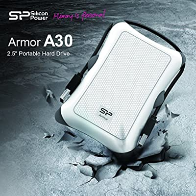 Silicon Power 2TB Rugged Armor A30 Shockproof Standard 2.5-Inch USB 3.0 Military Grade Portable External Hard Drive,White (SP020TBPHDA30S3W)