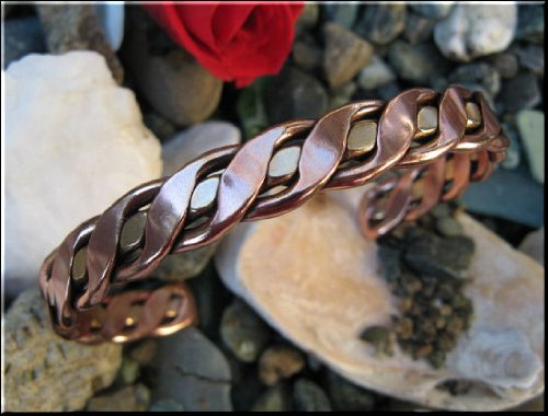 Ladies 7 Inch Solid Copper & Brass Cuff Bracelet BCB104
