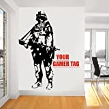 Call of Duty style SOLDIER GAMER TAG COD Boys Bedroom wall art sticker PS3 XBOX 28 colours GVWASG 580mm x 300mm