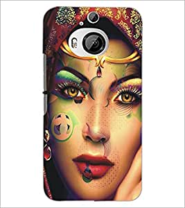 PrintDhaba Beautiful Face D-5453 Back Case Cover for HTC ONE M9 PLUS (Multi-Coloured)