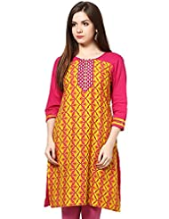 Indi Dori Women's Cotton Pink Pink Yellow Printed Kurti