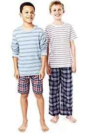 2 Pack Autograph Pure Cotton Check & Striped Pyjamas